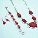 Vintage Antique Silver Turquoise (Include Necklace  Earring  Bracelet) Jewelry Set (Red)