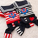 Handsome Stitched Anchor And Heart Japan Students Stripe Coat with Pants for Pets Dogs (Assorted Size,Assorted Color)