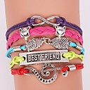BaoGuangLeather Bracelets Multilayer Alloy Colorful Charms Handmade Bracelet