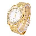 Coway High-Grade Mens Round Diamond Dial Golden Alloy Band Quartz Analog Waterproof Wrist Watch