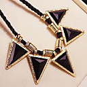 Black Crystal Triangle Statement Necklace(1 Piece)