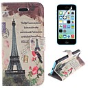 Eiffel Tower and The Birdie Design PU Leather Full Body Cover with Stand and Protective Film for iPhone 5C