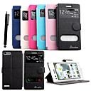 KARZEA™ Shiny Double Windows Pattern TPU and PU Leather Case with Stand and Stylus for HuaWei Ascend G6