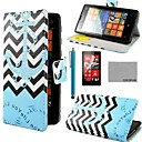 COCO FUN Blue Anchor Pattern PU Leather Full Body Case with Screen Protector, Stylus and Stand for Nokia Lumia N520