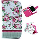 Pretty Flowers Pattern Wallet Style Flip Stand TPUPU Leather Case for iPhone 4/4S