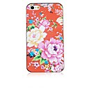 Peony Pattern Black Frame Back Case for iPhone 4/4S