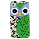 Purple Owl And Haw Pattern TPU Material Soft Back Cover Case for iPhone 4/4S