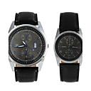 Fashionable Lovers Round Dial Waterproof Leather Watchband With  Pointer Wrist Watches Black(1Pc)