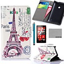 COCO FUN Effie Tower A Pattern PU Leather Full Body Case with Screen Protector, Stylus and Stand for Nokia Lumia N520