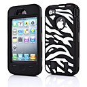 3in1 Zebra Grain Robots Pattern Silicone Case for iPhone 4/4S (Assorted Colors)