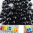 Approx 100PCS 8x9MM Black Pearlescent Pony Beads For Rainbow Loom Bracelet DIY Accessories