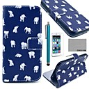 COCO FUN Blue Cute Elephant Pattern PU Leather Case for iPhone 6 6G 4.7 with Screen Protecter, Stand and Stylus