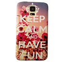 Crown Flower Word Keep Calm Pattern Plastic Hard Mobile Phone Case for Samsung Galaxy S5 I9600