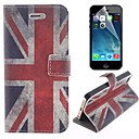 British Flag Design PU Leather Full Body Cover with Stand and Protective Film for iPhone 5/5S