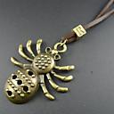 Mens Vintage Spider Leather Pendant Necklace