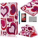 COCO FUN Red Heart Pattern PU Leather Full Body Case with Screen Protector, Stylus and Stand for Nokia Lumia N520