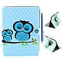 Owls Sleep Pattern PU Leather Full Body Case and Capacitance Pen for Samsung Galaxy Tab 3 10.1 P5200
