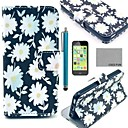 COCO FUN White Chrysanthemum Pattern PU Leather Full Body Case with Screen Protector,Stylus and Stand for iPhone 5C