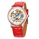 Womens Hollow Dial Gold Case Leather Band Auto-Mechanical Wrist Watch (Assorted Colors)