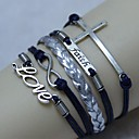 Vintage Cross word LOVE belief 8 18cm Unisex  Leather Wrap Bracelet(1 Pc)