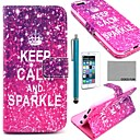 COCO FUN Calm Sparkle Pattern PU Leather Full Body Case with Screen Protecter, Stand and Stylus for iPhone 6 Plus 5.5