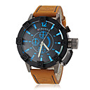Mens Watch Military Steel Case Leather Band