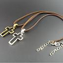 Mens Hollow Cross Leather Pendant Necklace