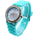 Womens Round Dial Silicone Band Quartz Wrist Watch(Assorted colors)
