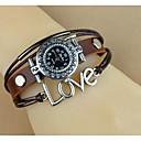 Womens Fashion Ancient Silver Rivet Love Leather Bracelet Watch