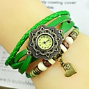 Womens Fashion Personality Flower Heart Leather Bracelet Watch(Assorted colors)