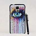 Colorful Crying Eye Pattern PC Hard Case with A Stylus Pen for Samsung Galaxy S5 I9600