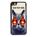Personalized Case Cat with Glasses Design Metal Case for iPhone 5C