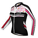 SANTIC-Womens 100% Polyester Long Sleeve Floral Pattern Cycling Jacket