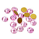 Pink Acrylic Flatback Faceted Round Sticky Rhinestones Gems 6.3mm(144 Pcs)