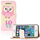 Pink Heart Owl PU Leather Full Body Case with Stand and Card Slot for iPhone 5/5S