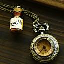 Womens Retro Wishing Bottle Quartz Movement Necklace Watch