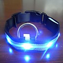 Adjustable Fashionable Flashing Nylon LED Light Pet Dog Collar Safety Collar for Christmas (DD-WT, Blue, L)