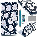 COCO FUN White Chrysanthemum Pattern PU Leather Case for iPhone 6 6G 4.7 with Screen Protecter, Stand and Stylus