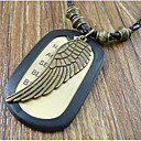 Mens Vintage Wing Leather Pendant Necklace