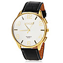 Mens Casual Gold Case Leather Band Quartz Wrist Watch (Assorted Colors)