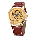 Mens Gold Skeleton Dial Leather Band Automatic Self Wind Wrist Watch (Assorted Colors)