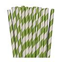 25pcs Apple Green Striped Paper Straws