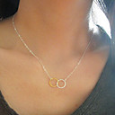Fashion Silver Golden Circle Tiny Pendant Necklace(1 Pc)