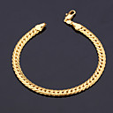 Mens  18K Gold Plated Figaro Chunky Bracelets 5MM 21CM With 18K Stamp High Quality