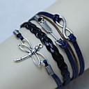 Vintage Cupid dragonfly 8 18cm Unisex  Leather Wrap Bracelet(1 Pc)