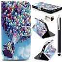 Balloon House Pattern PU Leather Cover and  Touch Pen with Diamond Dust Plug for iPhone 6