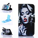 Attractive Monroe Pattern PU Leather Full Body Case with Stand for iPhone 5/5S