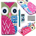 COCO FUN Colorful Owl Pattern PU Leather Full Body Case for iPhone 6 6G 4.7 with Screen Protecter, Stand and Stylus