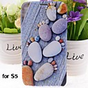 Stone Footprints Pattern PU Leather Full Body Case with Stand for Samsung Galaxy S5 I9600