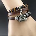Mens Bonze Leather Charm Bracelet